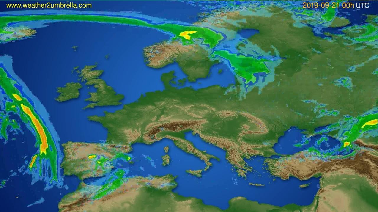 Radar forecast Europe // modelrun: 12h UTC 2019-09-20