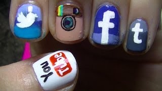Social Network App Nail Art - YouTube