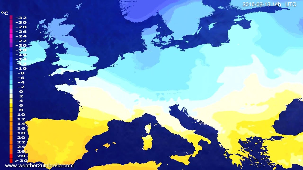 Temperature forecast Europe 2016-02-09