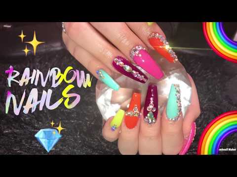 Acrylic nails - Acrylics Nails Tutorial  Rainbow Nails