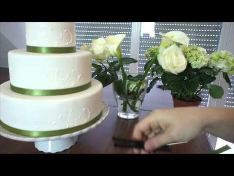 Hochzeitstorte mit Fondantüberzug & Perlmuttkügelchen  How to make ...