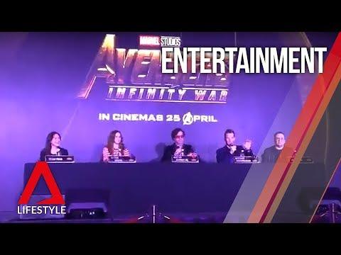 Avengers: Infinity War press conference in Singapore starring Iron Man, Doctor Strange, Nebula
