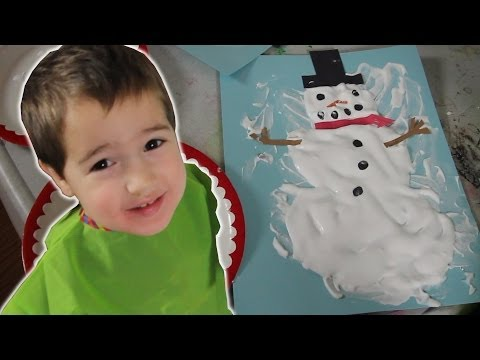 How To Make Puffy Paint Snowman [Crafts for Kids #6] (видео)
