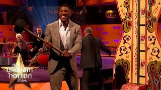 Anthony Joshua Tests His Strength With Hammer Game!