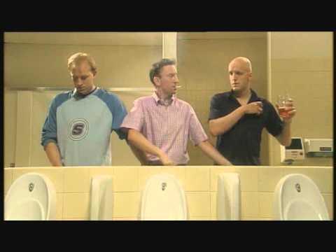 Men can multi task - Three men in a toilet (HD)