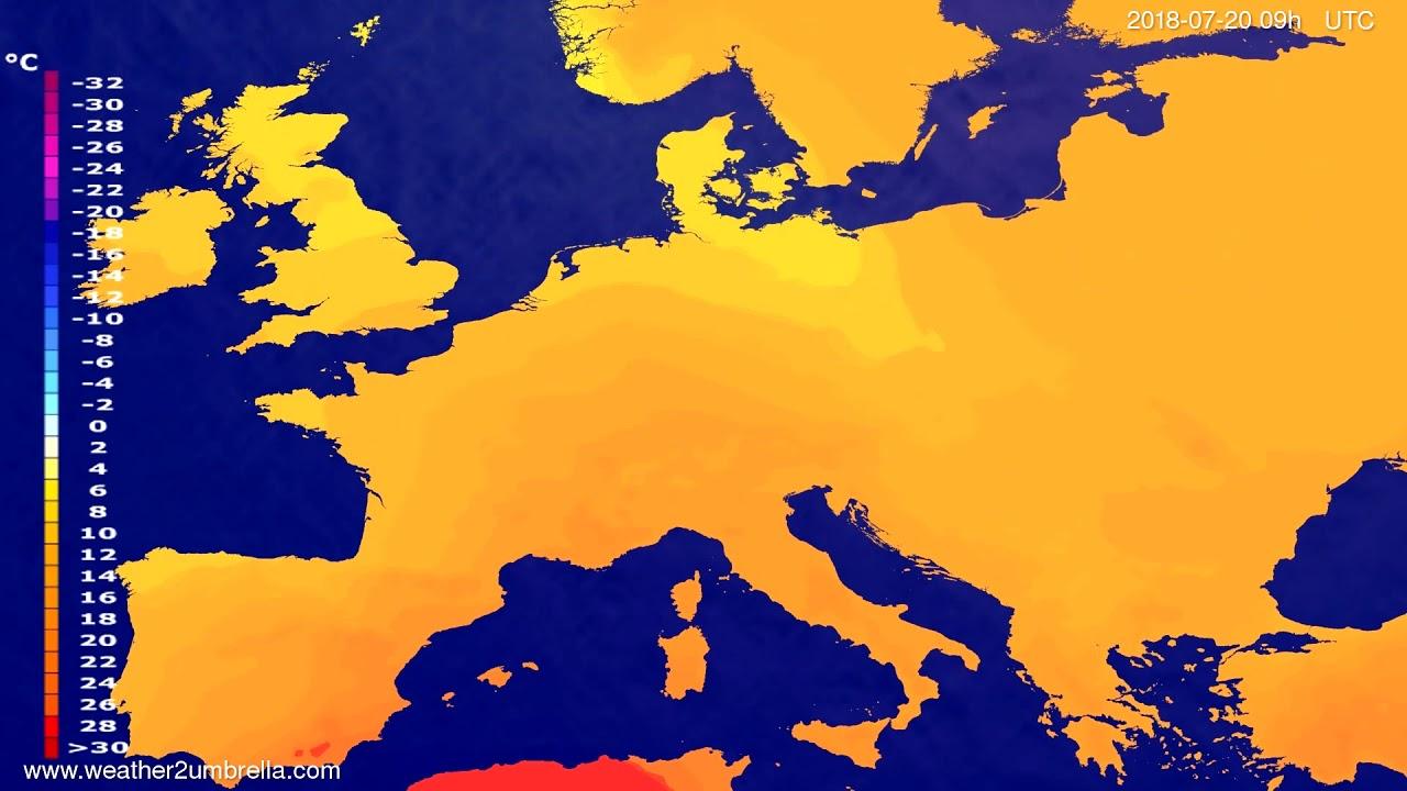 Temperature forecast Europe 2018-07-18