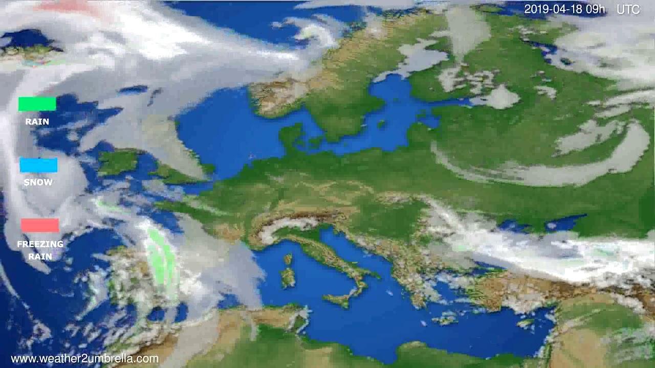 Precipitation forecast Europe // modelrun: 12h UTC 2019-04-16