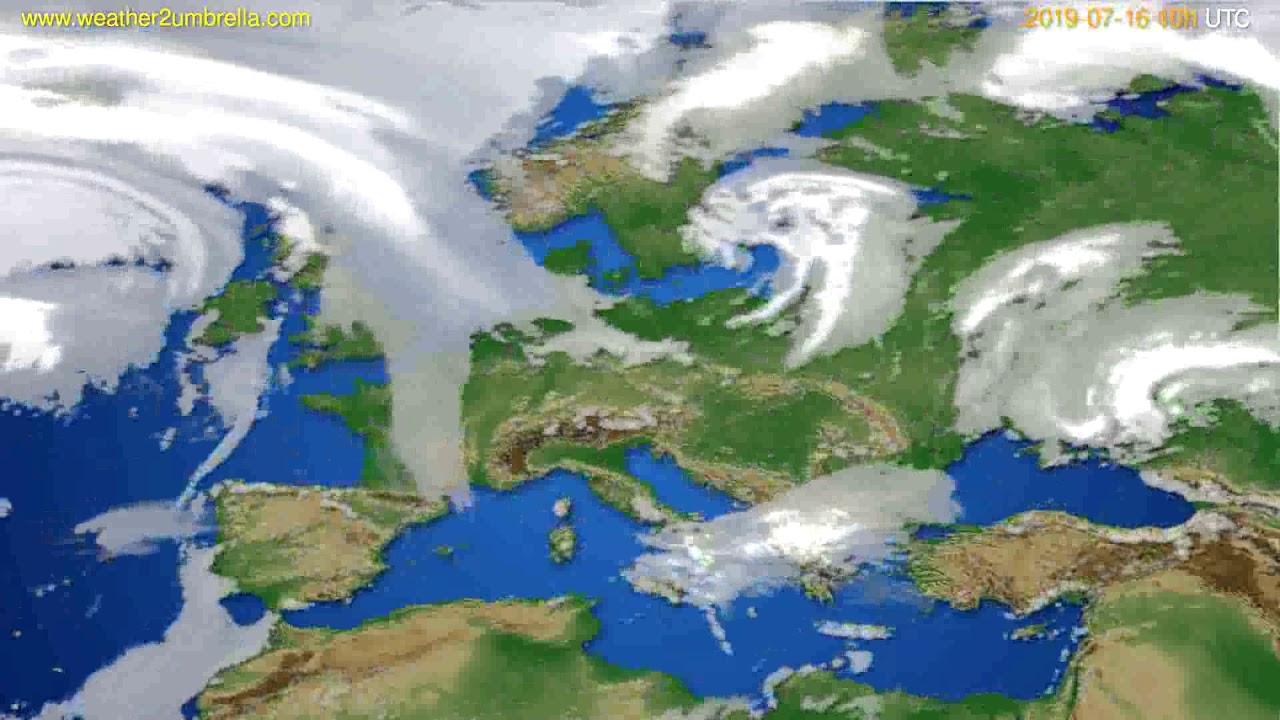 Cloud forecast Europe // modelrun: 00h UTC 2019-07-14