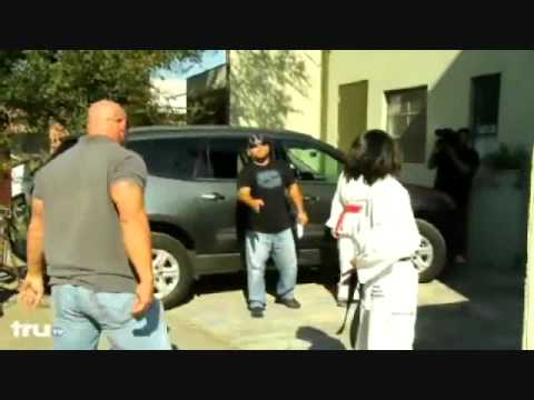 girl fights boy beats up big guy karate kicks ass