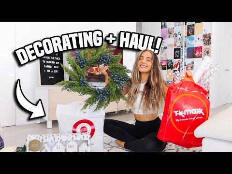 decorating for christmas, grocery + decor haul! VLOGMAS 2020