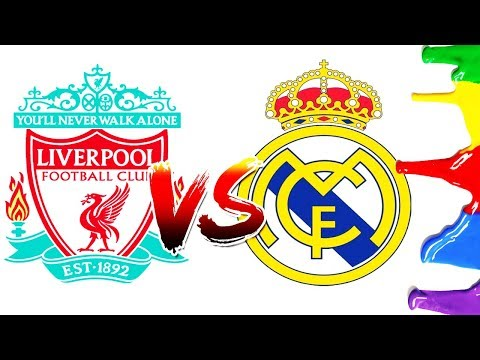 How To Draw And Color - Liverpool F.C VS Real Madrid Champions League Final Logos Coloring Pages