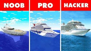 Noob vs. Pro vs. Hacker : LUXURY BOAT BUILD CHALLENGE! In Minecraft Animation