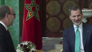 Encuentro de S.M. el Rey con el Presidente de la Cámara de Consejeros, Hakim Benchamach