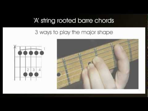 A string rooted guitar barre chords – learn how to play 2nd position barre chords