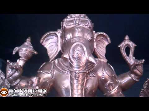 SOLD Bronze Golden Seated Ganapati Statue 15