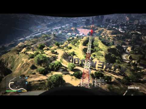 GTA V - Free Fall Through Vinewood Sign - 1st Person