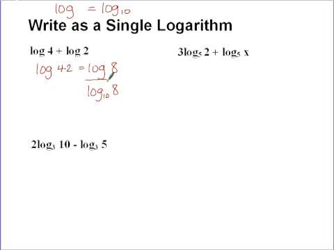 Writing Multiple Logarithms as a Single Logarithm