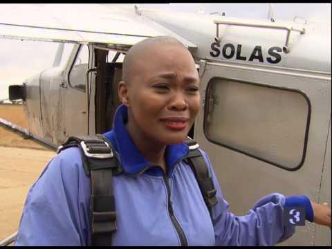 Top Billing takes actress Zikhona Sodlaka skydiving