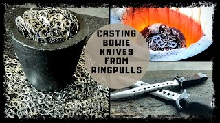Video BEER TO BOWIE KNIFE - HUGE BOWIE KNIVES FROM 100% RING PULLS - knife casting at home - Melting Metal MP3, 3GP, MP4, WEBM, AVI, FLV Maret 2019