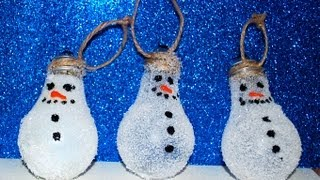 CUTE Snowman Lightbulb Ornament! Easy Craft! - YouTube