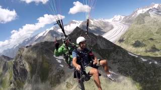 A great paragliding ride from the Fiescheralp in the canton of Valais in Switzerland. Awesome views of the Aletsch Glacier and Eiger, Mönch and Jungfrau.