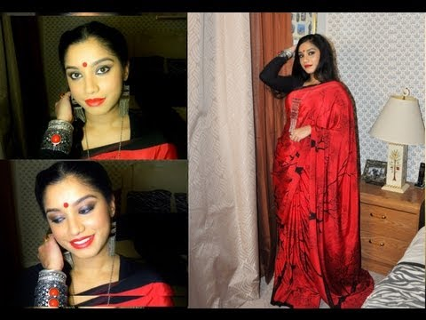 """Desi me"" .. Wearable party makeup look for Indian skin + hair style + OOTD saree."