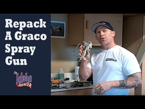 fix paint sprayer - How to install a new packing (gun repair kit) kit in a Graco Contractor spray gun. Removing and installing the new packing in 5 minutes. A simple process to ...