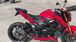 9. 2018 Suzuki GSX S750 Stock vs. Yoshimura Alpha T slip-on and drive by