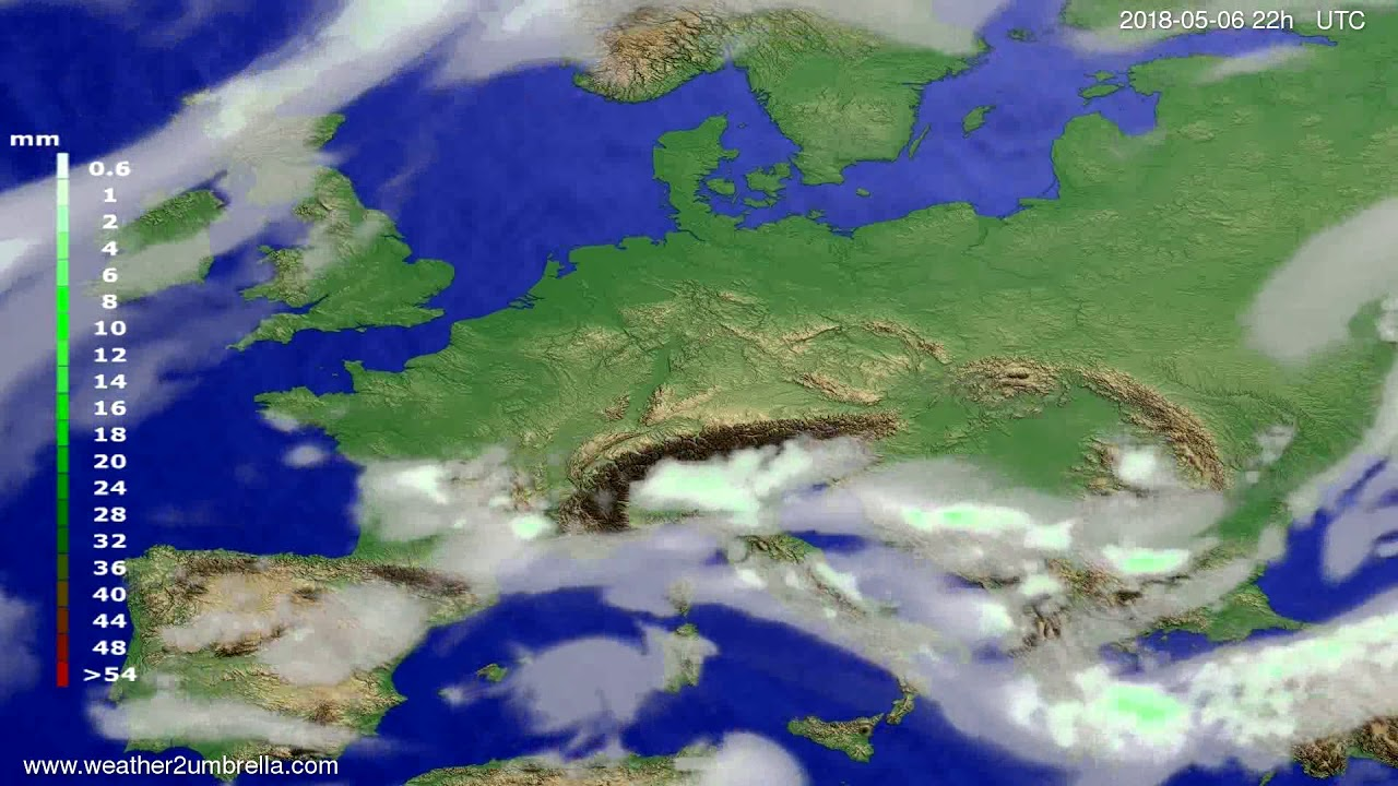 Precipitation forecast Europe 2018-05-04