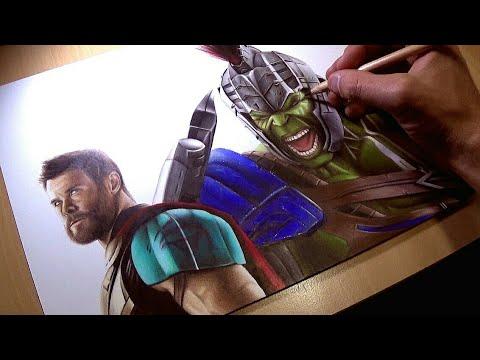 "Drawing Thor vs Hulk from ""Thor Ragnarock"""