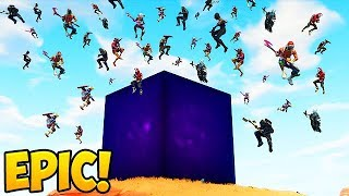 100 Players Land *NEW* LIGHTNING CUBE! - Fortnite Funny Fails and WTF Moments! #300