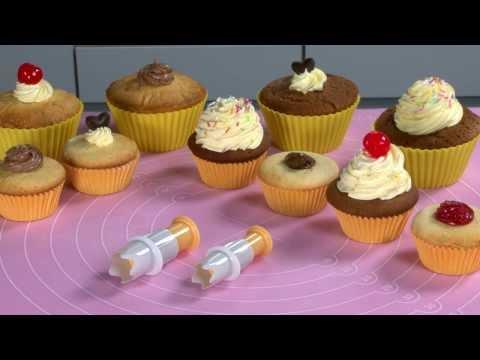 Видео Аксессуары для выпечки  Шприц-нож для наполнения кексов начинкой DELICIA, 2 шт Tescoma 630088