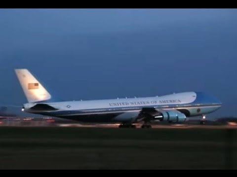 Air Force One landing London Stansted - Obama 1st London visit FIRST Video Upload & G8 Arrivals