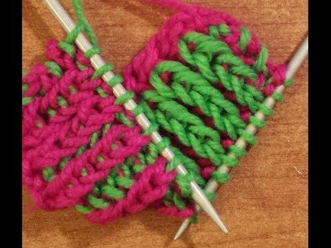 ferri a maglia - il punto costa bicolore