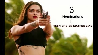 Deepika Padukone Bags 3 Nominations At Teen Choice Awards 2017 - Deepika Padukone is on a roll -- after her Hollywood debut in XxX: Return of Xander Cage, she has now been nominated for a Teen Choice Award in Choice Movie Actress category.