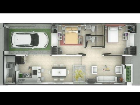 Casa de un piso 83m interiores minimalista 7m x 15m for Pisos para casas minimalistas