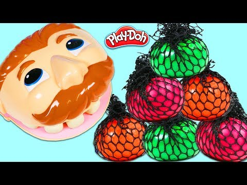 Feeding Mr. Play Doh Head Squishy Slime Mesh Balls & Visiting Drill N Fill Dentist!