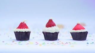 Cupcakes de gorro de Santa