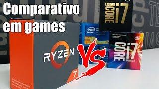 """Quem deu uma olhada em nossa análise dos Ryzen, o Ryzen 7 1700X e 1800X, percebeu que as novas CPUs da AMD conseguiram equilibrar o jogo com a Intel em performance single-thread e voltaram a aparecer no topo de nossa tabela de benchmarks. Mas houve um aspecto que a diferença se manteve um pouco maior: games, especialmente em 1080p.03:55 - GTA V05:53 - Hitman07:46 - The Witcher 3 Wild Hunt08:46 - Impressões e conclusõesAnálise Ryzen 7 1800Xhttp://adrenaline.uol.com.br/2017/03/02/48469/analise-processador-amd-ryzen-7-1800x/Gameplay Ryzen 7 1700Xhttp://http//adrenaline.uol.com.br/2017/03/01/48577/ryzen-e-bom-em-jogos-veja-nosso-gameplay-com-o-ryzen-1700x-feat-alfredo-heiss-/Ryzen: nossas impressões das novas CPUs da AMDhttp://adrenaline.uol.com.br/2017/03/01/48580/ryzen-nossas-opinioes-sobre-as-novas-cpus-da-amd/Videocast com Alfredo Heisshttp://adrenaline.uol.com.br/2017/03/02/48539/videocast-especial-ryzen-alfredo-heiss-nos-conta-tudo-sobre-as-novas-cpus-da-amd/Colocamos as CPUs em uma situação extrema: configuramos em qualidade Alta e resolução FullHD, uma qualidade que a Gigabyte GeForce GTX 1080 G1 Gaming """"leva com um pé nas costas"""", e rodamos benchmarks. Nessa situação de sub-uso da placa de vídeo, a pressão sobre a performance do processador sobe e muito.É bom lembrar que estamos criando uma situação atípica ao sub-usar a GTX 1080, e é normal ela atingir pouco uso (na casa dos 50%, na maior parte do tempo). Em uma situação prática de uso, o gamer exploraria melhor a capacidade da GPU com resoluções mais altas e qualidades mais avançadas.Games utilizados:The Witcher 3 Wild Hunt (DX11)Hitman (DX12)GTA V (DX11)CPUs testadas:AMD Ryzen 7 18000XAMD Ryzen 7 17000XIntel Core i7-7700KIntel Core i7-6800KIntel Core i7-6900K{chamada}RAma3ARCoP4{/chamada}"""