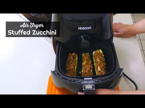 Air Fryer Stuffed Zucchini ~ Pinsoon 3.7 Quart Air Fryer ~ Amy Learns To Cook