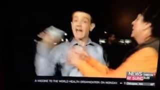 Young reporter argues with woman during the keene State college riot during the pumpkin festival. LOL, he keeps yanking the mic away after reporting the truth. Give him a break lady!