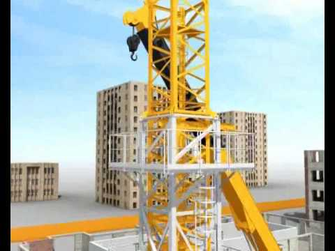 tower - San Marco Tower crane assembly with overview of how climbing system works. http://www.sanmarcocranes.com.