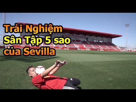 Thử Thách Bóng Đá Đỗ Kim Phúc Việt Nam chơi bóng trên sân Sevilla và xem cầu thủ La Liga tập luyện - Thời lượng: 10:02.