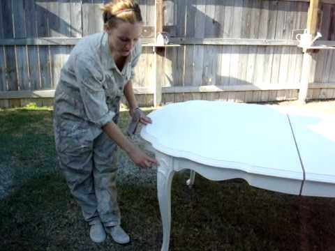 Distressed - This video shows a dining table go through the process of being painted and then distressed. In this video a spary gun is used to give the furniture a nice, ...
