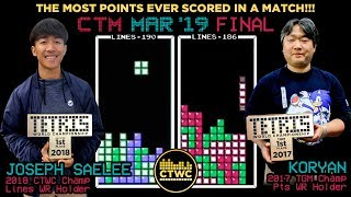 HIGHEST SCORING TETRIS MATCH EVER Joseph v Koryan CTM Final March '19