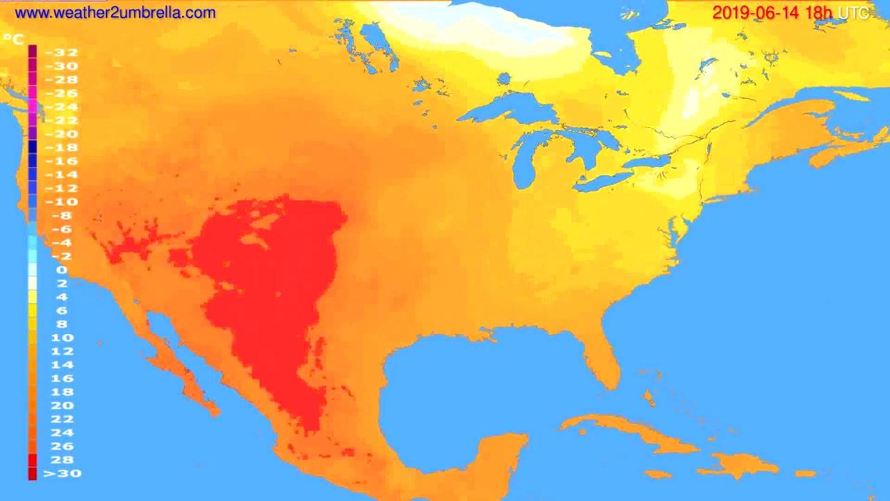 Temperature forecast USA & Canada // modelrun: 12h UTC 2019-06-12