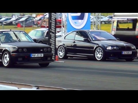 bmw m3 e46 vs bmw m3 e30 drag race