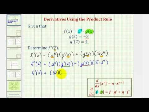 Ex: Find a Derivative Function Value – Product Rule Concept Check