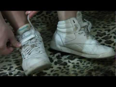Reebok Freestyle - Katie wearing her white Reebok hightops. This pair is her most worn pair of her entire collection. This is a 2 minute preview of a 5 minute clip.