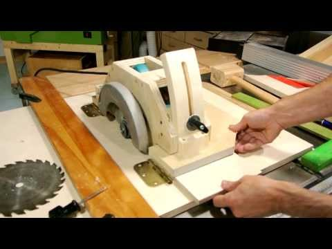 homemade - Start of building a tilting arbour table saw from a circular saw http://woodgears.ca/homemade_tablesaw/